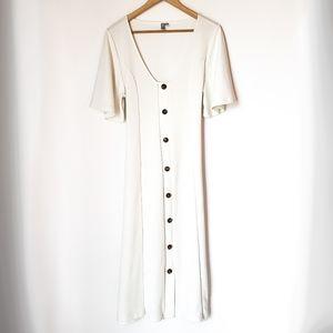 Asos | White Button Down Flowy Sleeve Midi Dress